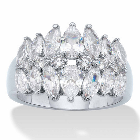 Pear and Marquise-Cut Cubic Zirconia Anniversary Ring 3.20 TCW Platinum-Plated at PalmBeach Jewelry