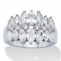 Pear and Marquise-Cut Cubic Zirconia Anniversary Ring 3.20 TCW Platinum-Plated