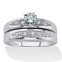 Round Cubic Zirconia 2-Piece Bridal Ring Set .64 TCW Platinum over Sterling Silver