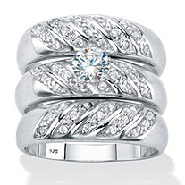 Round Cubic Zirconia 3-Piece Bridal Ring Set .85 TCW Platinum over Sterling Silver