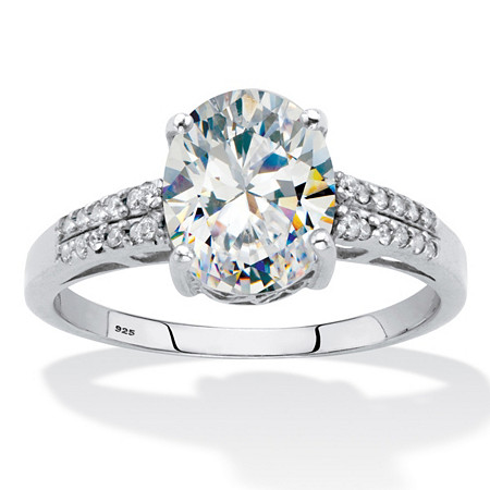 Oval-Cut Cubic Zirconia Engagement Ring 2 5/8 TCW. Platinum over Sterling Silver at PalmBeach Jewelry