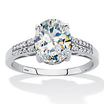 Oval-Cut Cubic Zirconia Engagement Ring 2 5/8 TCW. Platinum over Sterling Silver