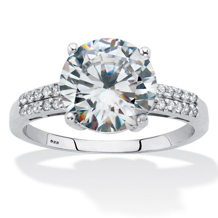 Round-Cut Cubic Zirconia Engagement Ring 4.10 TCW Platinum over Sterling Silver at PalmBeach Jewelry