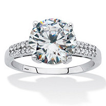 Round-Cut Cubic Zirconia Engagement Ring 4.10 TCW Platinum over Sterling Silver