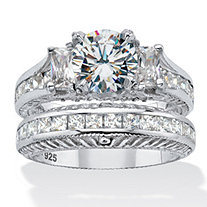 Round and Princess-Cut Cubic Zirconia Channel- Set Bridal Ring Set 4.06 TCW Platinum Over Sterling Silver