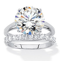 Round Cubic Zirconia 2-Piece Bridal Ring Set 6.44 TCW Platinum over Sterling Silver