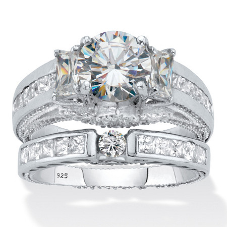 Round and Emerald-Cut Cubic Zirconia 2-Piece Bridal Ring Set 3.80 TCW  Platinum Over Sterling Silver at PalmBeach Jewelry