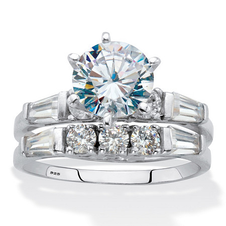 Round and Baguette Cubic Zirconia 2 Piece Bridal Ring Set 3.5 TCW Platinum Over Sterling Silver at PalmBeach Jewelry