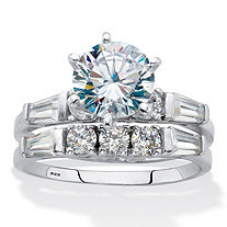 Round and Baguette Cubic Zirconia 2 Piece Bridal Ring Set 3.5 TCW Platinum Over Sterling Silver