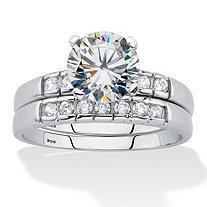 Round Cut Cubic Zirconia Bezel Set 2 Piece Bridal Ring Set 2.33 TCW Platinum over Silver