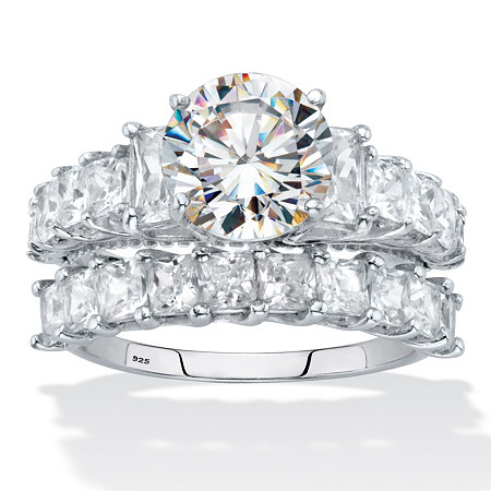 Round and Emerald-Cut CZ 2 Piece Bridal Ring Set 6.28 TCW. Platinum over Silver at PalmBeach Jewelry