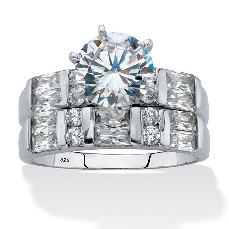 Round and Emerald-Cut Cubic Zirconia 2 Piece Bridal Ring Set 3.46 TCW Platinum over Silver at PalmBeach Jewelry