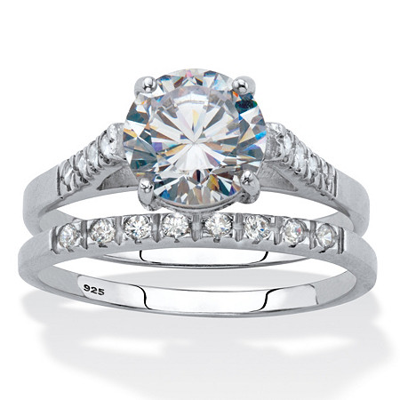 Round Cubic Zirconia 2 Piece Bridal Ring Set 2.24 TCW Platinum over Sterling Silver. at PalmBeach Jewelry