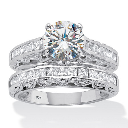 Round and Princess-Cut Cubic Zirconia Channel-Set 2 Piece Bridal Ring Set 3.08 TCW  Platinum over Sterling Silver at PalmBeach Jewelry