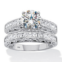 Round and Princess-Cut Cubic Zirconia Channel-Set 2 Piece Bridal Ring Set 3.08 TCW Platinum over Sterling Silver