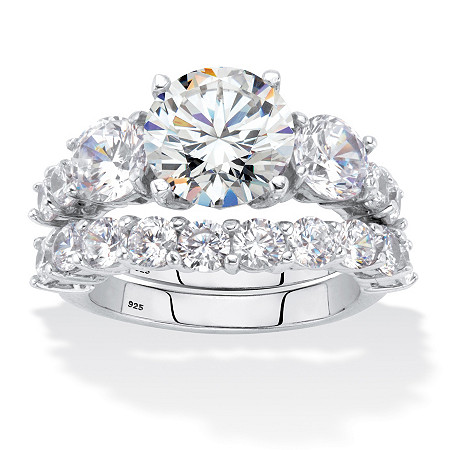 Round Cubic Zirconia 2-Piece Bridal Ring Set 7.94 TCW Platinum over Sterling Silver at PalmBeach Jewelry