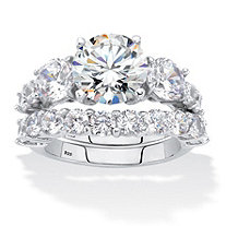 Round Cubic Zirconia 2-Piece Bridal Ring Set 7.94 TCW Platinum over Sterling Silver