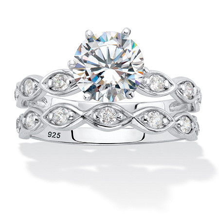Round Cubic Zirconia 2-Piece Bridal Ring Set 2.43 TCW  Platinum over Sterling Silver at PalmBeach Jewelry