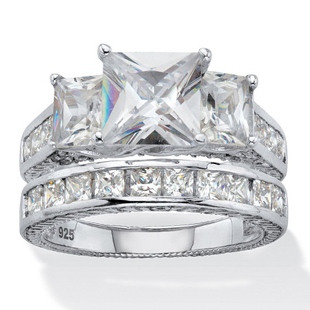 Princess-Cut Cubic Zirconia 2 Piece Bridal Ring Set 5.01 TCW Platinum Over Sterling Silver at PalmBeach Jewelry