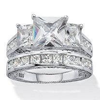 Princess-Cut Cubic Zirconia 2 Piece Bridal Ring Set 5.01 TCW Platinum Over Sterling Silver