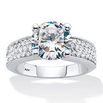 Round Cubic Zirconia Pave' Engagement Ring 4.37 TCW Platinum Over Sterling Silver
