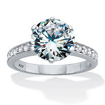 Round Cut Pave' Cubic Zirconia Engagement Ring 4.18 TCW Platinum Over Sterling Silver.