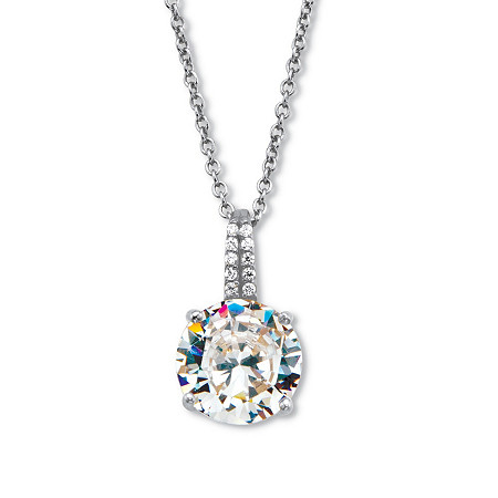 """Round Cubic Zirconia Drop Pendant with CZ Accents. Includes 18-20"""" Chain 4.05 TCW Platinum Over Sterling Silver at PalmBeach Jewelry"""