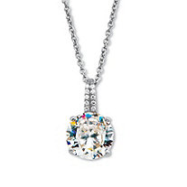 """Round Cubic Zirconia Drop Pendant with CZ Accents. Includes 18-20"""" Chain 4.05 TCW Platinum Over Sterling Silver"""