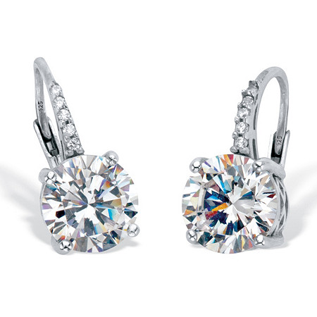 Round Cut Cubic Zirconia Drop Earrings with Round CZ Accents 4.05 TCW Platinum Over Sterling Silver at PalmBeach Jewelry