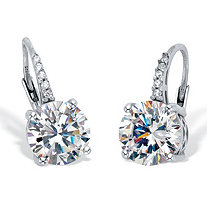 Round Cut Cubic Zirconia Drop Earrings with Round CZ Accents 4.05 TCW Platinum Over Sterling Silver