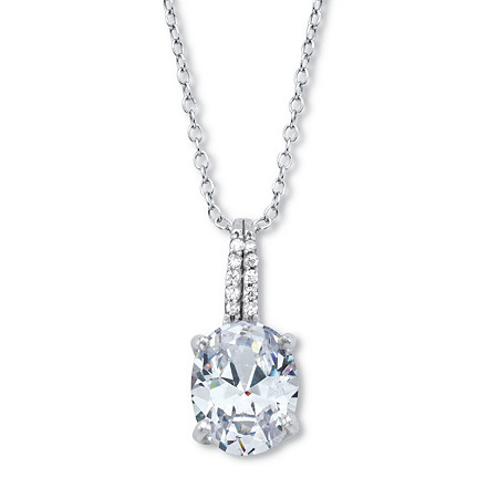 """Oval-Cut Cubic Zirconia Drop Pendant With Round CZ Accents With 18-20"""" Chain 2.59 TCW Platinum Over Sterling Silver at PalmBeach Jewelry"""