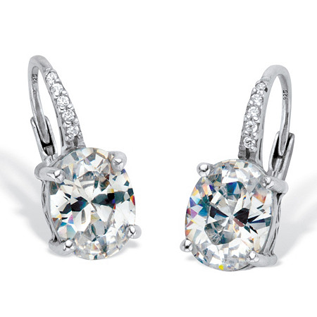 Oval-Cut Cubic Zirconia Drop Earrings 3.77 TCW Platinum Over Sterling Silver at PalmBeach Jewelry