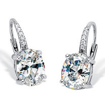 Oval-Cut Cubic Zirconia Drop Earrings 3.77 TCW Platinum Over Sterling Silver