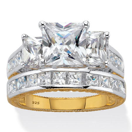 Princess Cut Cubic Zirconia 2 Piece Bridal Ring Set 5.01 TCW Two Tone 18k Gold Over Sterling Silver at PalmBeach Jewelry