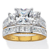 Princess Cut Cubic Zirconia 2 Piece Bridal Ring Set 5.01 TCW Two Tone 18k Gold Over Sterling Silver