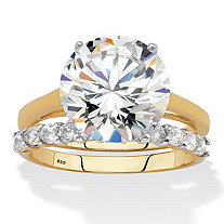 Round Cut Cubic Zirconia 2 Piece Bridal Ring Set 6.44 TCW Two Tone 18k Gold Over Sterling Silver