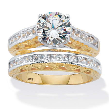 Round Cut Cubic Zirconia 2 Piece Bridal Ring Set 3.08 TCW Two-Tone 18k Gold Over Sterling Silver at PalmBeach Jewelry