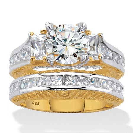 Round and Princess-Cut Cubic Zirconia Channel-Set 2 Piece Bridal Ring Set 4.06 TCW 18k Gold over Sterling Silver at PalmBeach Jewelry