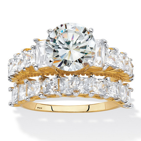Round and Emerald-Cut Cubic Zirconia 2 Piece Bridal Ring Set 6.28 TCW. Two-Tone Gold-Plated Sterling Silver at PalmBeach Jewelry