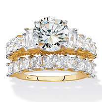 Round and Emerald-Cut Cubic Zirconia 2 Piece Bridal Ring Set 6.28 TCW. Two-Tone Gold-Plated Sterling Silver