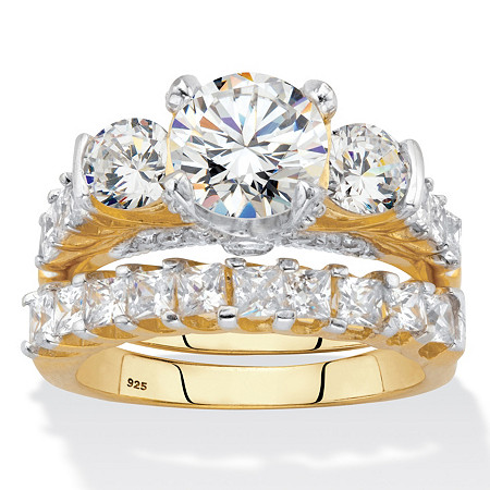 Round and Princess-Cut CZ  2 Piece Bridal Ring Set 4.69 CTW Two-Tone 18k Gold Over Sterling Silver at PalmBeach Jewelry