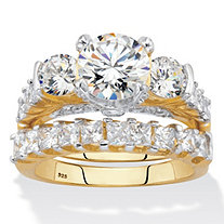 Round and Princess-Cut CZ 2 Piece Bridal Ring Set 4.69 CTW Two-Tone 18k Gold Over Sterling Silver