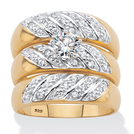 Round Cubic Zirconia 3-Piece Bridal Ring Set .85 TCW 18k Gold over Sterling Silver at PalmBeach Jewelry