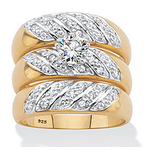 Round Cubic Zirconia 3-Piece Bridal Ring Set .85 TCW 18k Gold over Sterling Silver