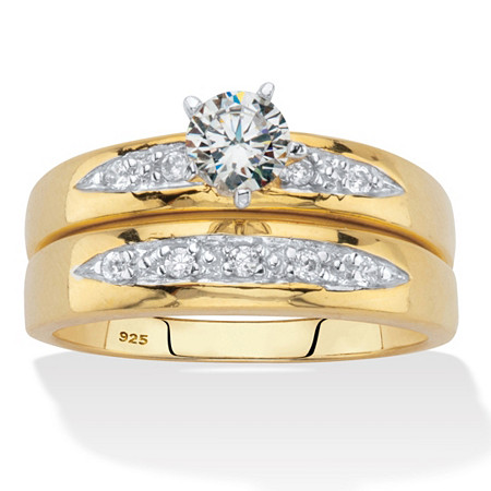 Round Cubic Zirconia 2 Piece Bridal Ring Set .64 TCW Two-Tone 18K Gold Over Sterling Silver at PalmBeach Jewelry