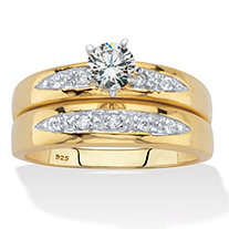 Round Cubic Zirconia 2 Piece Bridal Ring Set .64 TCW Two-Tone 18K Gold Over Sterling Silver