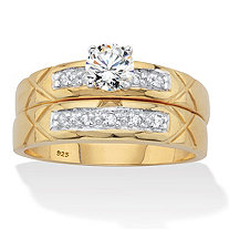 Round Cubic Zirconia 2 Piece Bridal Ring Set .57 TCW Two-Tone 18k Gold over Sterling Silver