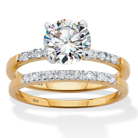 Round Cubic Zirconia 2-Piece Bridal Ring Set 2.21 TCW 18k Gold over Sterling Silver at PalmBeach Jewelry