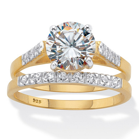 Round Cubic Zirconia 2 Piece Bridal Ring Set 2.24 TCW  Two-Tone 18k Gold Over Sterling Silver at PalmBeach Jewelry