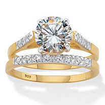 Round Cubic Zirconia 2 Piece Bridal Ring Set 2.24 TCW Two-Tone 18k Gold Over Sterling Silver